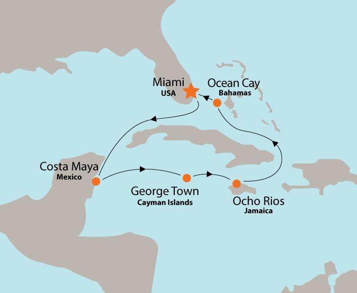 MSC Seaside map